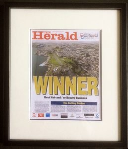 Image of the Cutting Garden's framed City & Waterfront Award 2017 for best Hair Salon in Plymouth
