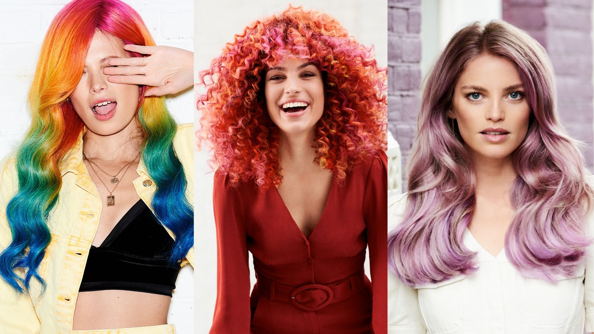 Why We Use Keune: Collage image of three women with brightly coloured hair.